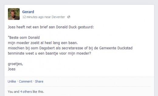 jongetje schrijft sollicitatiebrief naar donald duck voor