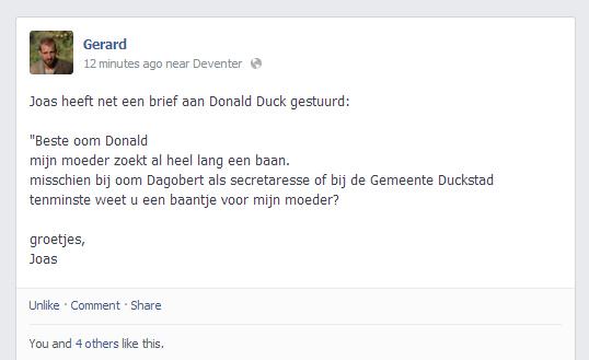 voorbeeld sollicitatiebrief secretaresse gemeente Jongetje schrijft sollicitatiebrief naar Donald Duck voor z'n  voorbeeld sollicitatiebrief secretaresse gemeente