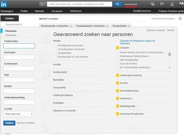 linkedin-geavanceerd-zoeken