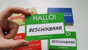 Hallo! Ik ben beschikbaar - visitekaartjes voor werkzoekenden